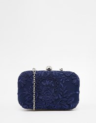 Chi Chi London Box Clutch Bag With Navy Embroidery Navy