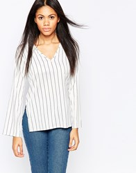 Influence Striped Flared Long Sleeve Bouse White