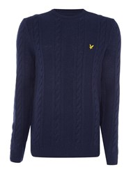 Lyle And Scott Lambswool Cable Knit Crew Neck Jumper Navy