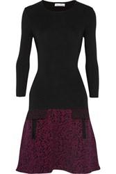 Oscar De La Renta Textured Knit Wool Blend Dress Black