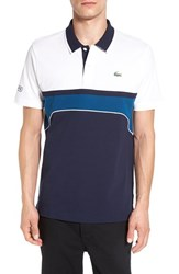 Lacoste Men's 'Superlight' Chest Stripe Polo Navy Blue White Yachting Blue