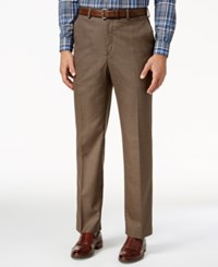 Michael Kors Solid Classic Fit Stretch Dress Pants Brown