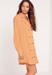 Missguided Double Button Curved Hem Shirt Dress Nude Beige