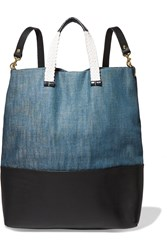 Clare V. Matilde Canvas And Leather Backpack Blue