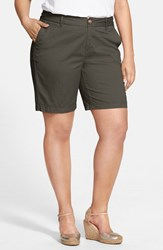 Plus Size Women's Sejour 'Addison' Stretch Twill Bermuda Shorts Olive Tuscan