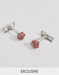Reclaimed Vintage Textured Knot Cufflinks In Pink Silver