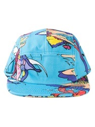 Love Moschino Tropical Alien Print Cap Blue