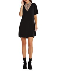 Bcbgeneration 2 Fer Leopard Print Yoke Shirt Dress Black