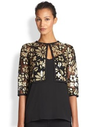 Harrison Morgan Floral Sequined Bolero Jacket Black Gold