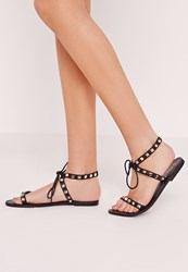 Missguided Studded Barely There Flat Sandals Black Black