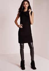 Missguided Roll Neck Longline Chunky Tunic Black Black