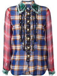 Coach Plaid Ruffled Shirt