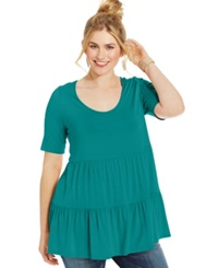 Soprano Plus Size Short Sleeve Tiered Top Jade