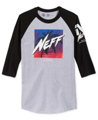 Neff Men's Raglan Sleeve Graphic Print T Shirt Athletic Heather