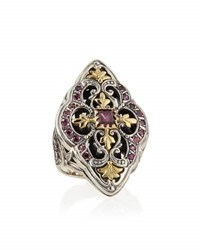 Konstantino Silver And 18K Gold Rhodolite Marquise Flower Ring Red