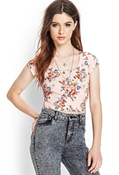 Forever 21 Cap Sleeve Floral Crop Top