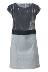 Fendi Tonal Grey Dress With Velvet Top