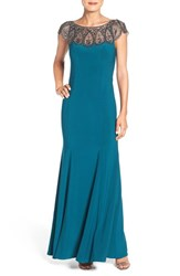 Xscape Evenings Women's Embellished Illusion Jersey Gown