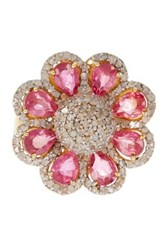 Gold Vermeil Diamond And Pink Tourmaline Flower Ring