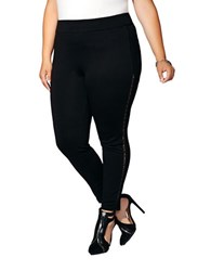 Mblm By Tess Holiday Plus Faux Leather Trim Leggings Black