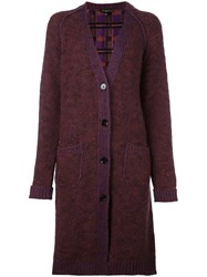 Etro Contrast Block Knit Cardi Coat Pink And Purple