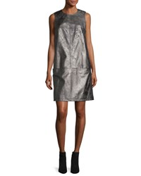 Tomas Maier Antiqued Leather Shift Dress Smoked Brass
