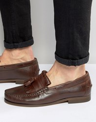 Hudson London Clifford Leather Tassle Loafers Brown Tan