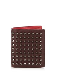 Christian Louboutin Paros Bi Fold Spike Leather Wallet Burgundy