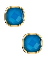 Ariella Collection Cushion Cut Stud Earrings Blue