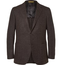 Canali Brown Kei Slim Fit Wool Blend Tweed Blazer Brown
