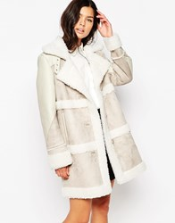 Urbancode Bonded Suede Coat With Borg Trim Nude