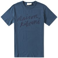 Maison Kitsune Handwriting Tee Blue