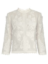 Vanessa Bruno Fabago Embroidered Cotton Voile Top Ivory