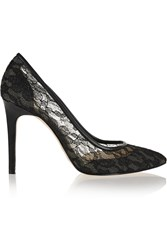 Lucy Choi London Prospero Lace And Leather Pumps