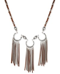 Macy's Silver Tone And Brown Suede Triple Fringe Statement Necklace