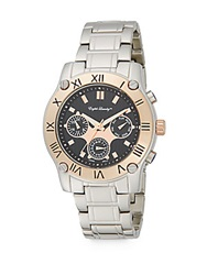 English Laundry Two Tone Stainless Steel Chronograph Bracelet Watch Silver Rose Gold