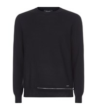 Dsquared2 Zip Hem Wool Sweater Male Black