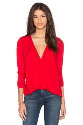 Three Dots Georgia Twist Front Top Red