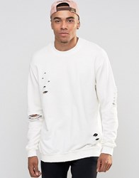 Jack And Jones Crew Neck Sweat With Drop Shoulder Distressed Detail Cloud Dancer White
