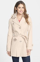 Women's Via Spiga 'Scarpa' Single Breasted Hooded Trench Muslin