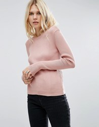 Asos Jumper In Rib With Crew Neck Nude Pink