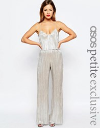 Asos Petite Metallic Pleat Jumpsuit With Crop Top Layer Silver