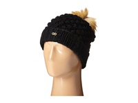 Cole Haan Popcorn Stitch Handknit Faux Fur Pom Hat Black Caps