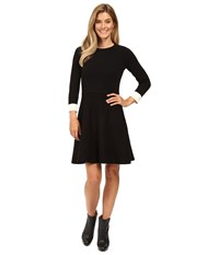 Vince Camuto Long Sleeve Flare Sweater Dress Rich Black Women's Dress