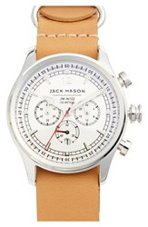 Jack Mason Brand Men's Chronograph Leather Strap Watch 42Mm Camel White