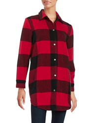 Bb Dakota Plaid Snap Front Jacket Cherry Red