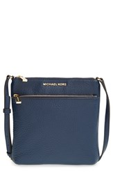 Michael Michael Kors 'Small Riley' Leather Crossbody Bag Blue Navy