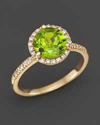 Bloomingdale's Peridot And Diamond Halo Ring In 14K Yellow Gold Green Gold