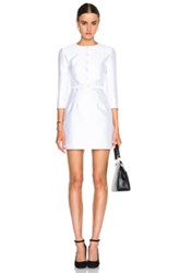 Carven Button Front Belted Dress In White Metallics