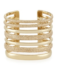Open Crystal Cuff Bracelet Light Gold St. John Collection